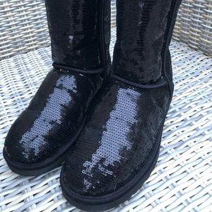 UGG Sequin Liquid Classic Black Boots 9